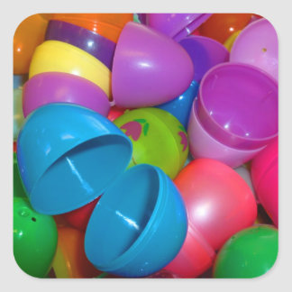Plastic Easter Eggs Blue One Open Photograph Square Sticker