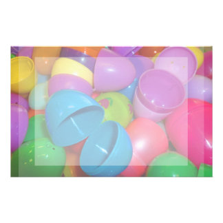 Plastic Easter Eggs Blue One Open Photograph Stationery