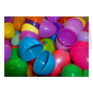 Plastic Easter Eggs Blue One Open Photograph Stationery Note Card