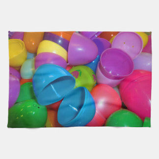 Plastic Easter Eggs Blue One Open Photograph Towels