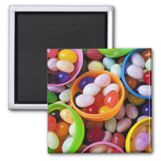 Plastic eggs filled with jelly beans 2 inch square magnet
