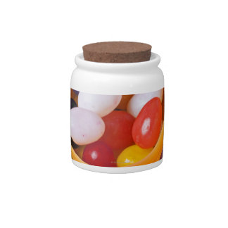 Plastic eggs filled with jelly beans candy dish
