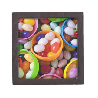 Plastic eggs filled with jelly beans jewelry box