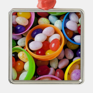 Plastic eggs filled with jelly beans square metal christmas ornament