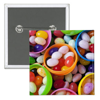 Plastic eggs filled with jelly beans pinback button