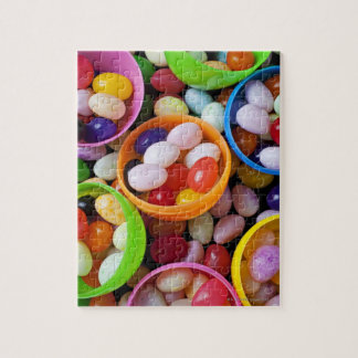 Plastic eggs filled with jelly beans puzzle