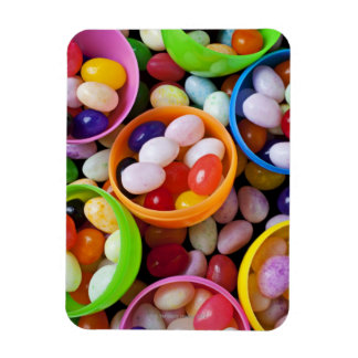 Plastic eggs filled with jelly beans rectangular photo magnet