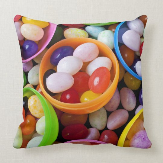 Plastic eggs filled with jelly beans throw pillow