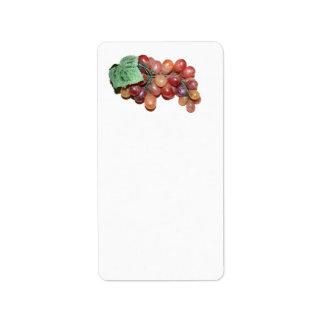 plastic fake grape food image custom address label