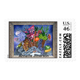 Plastic Fruits and Flowers Stamp