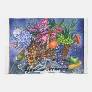 Plastic Fruits and Flowers Towel
