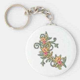 plastic hibiscus basic round button keychain