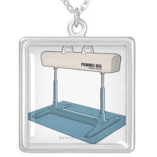 Plastic horse square pendant necklace