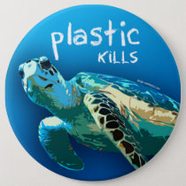 Plastic Kills Ocean Turtle Button