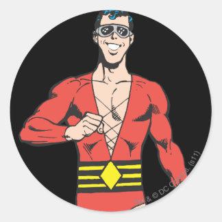Plastic Man Stands Round Sticker