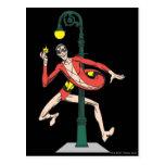 Plastic Man Wraps Streetlamp Postcard