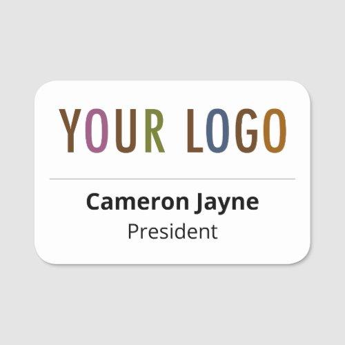 Plastic Name Tag Magnetic or Pin Custom Logo