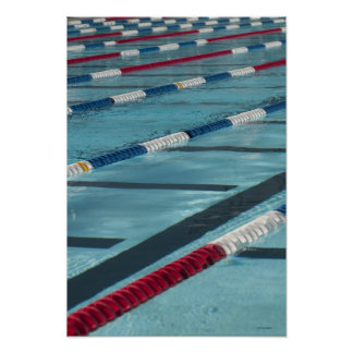 Plastic separators in a swimming pool creating poster