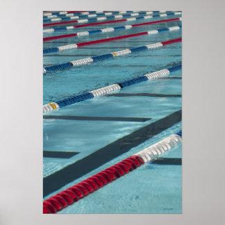 Plastic separators in a swimming pool creating posters