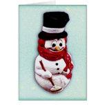 Plastic snowman holiday card