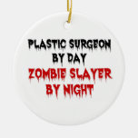 Plastic Surgeon by Day Zombie Slayer by Night Double-Sided Ceramic Round Christmas Ornament