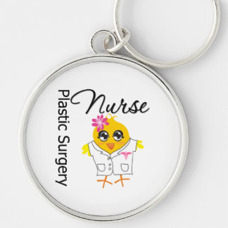 Plastic Surgery Nurse Chick v2 Silver-Colored Round Keychain