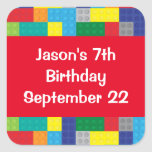 Plastic Toy Bricks Boy's Birthday Party Favor Square Sticker at Zazzle