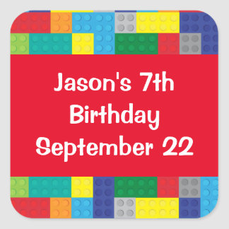 Plastic Toy Bricks Boy's Birthday Party Favor Square Sticker