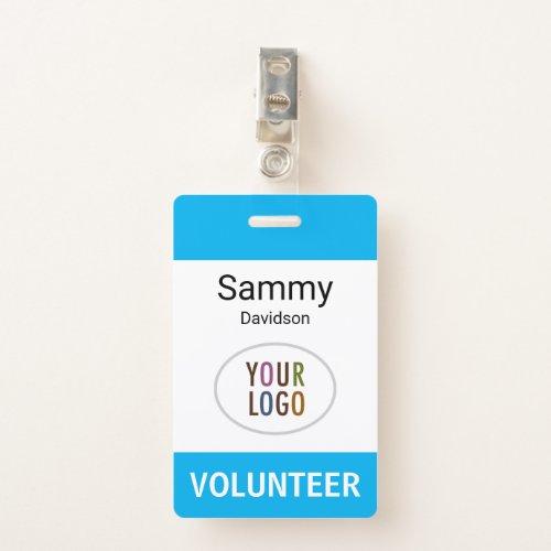 Plastic Volunteer Name Badge with Clip Custom Logo