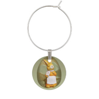 Plasticine Bunny and an Easter Egg background Wine Glass Charm