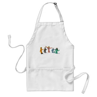 plasticine people figures saying hi adult apron