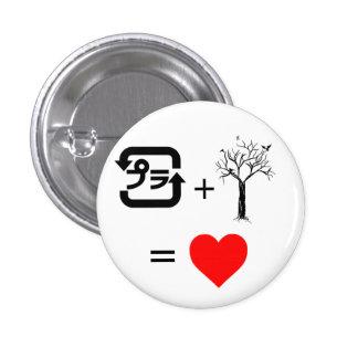 Plástico + Árbol = corazón Pin Redondo 2,5 Cm