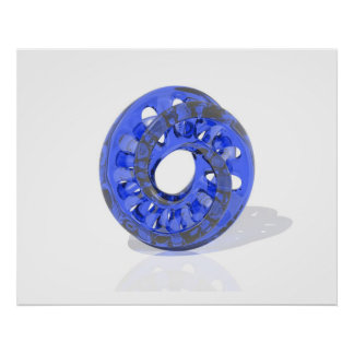 Plástico azul transparente de Moebius de la escult Póster