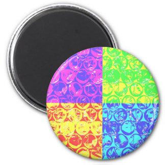 Plástico de burbujas del arte pop del arco iris imán redondo 5 cm