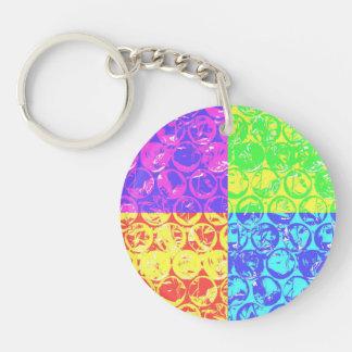 Plástico de burbujas del arte pop del arco iris llavero redondo acrílico a doble cara