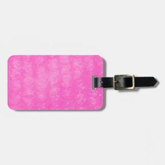 Plástico de burbujas plástico rosado etiquetas para maletas