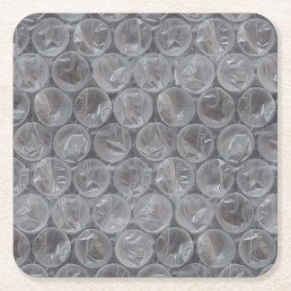 Plástico de burbujas posavasos desechable cuadrado