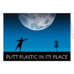 Plástico del putt en su lugar felicitaciones