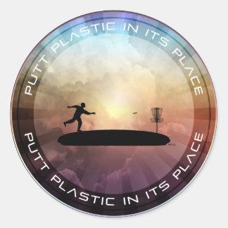 Plástico del putt en su lugar pegatina redonda