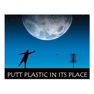 Plástico del putt en su lugar tarjetas postales