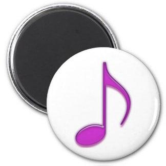 Plástico púrpura que mira la 8va nota musical imán redondo 5 cm