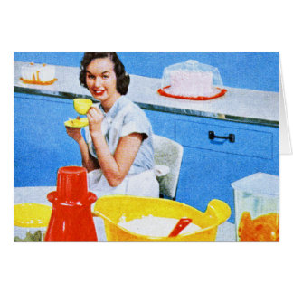 Plastics Suburban Kitsch Housewife Kitchen Greeting Card