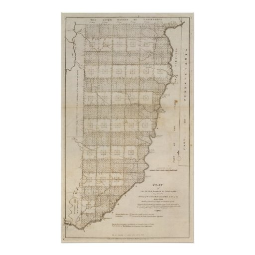 Plat of The Seven Ranges of Townships Poster