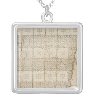 Plat of The Seven Ranges of Townships Silver Plated Necklace