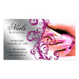 Plata 2 del rosa del brillo de la tarjeta de visit plantilla de tarjeta de negocio