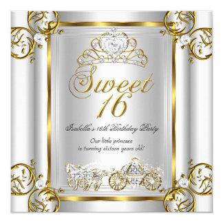 """Plata 3 del oro del cumpleaños del dulce 16 del invitación 5.25"""" x 5.25"""""""