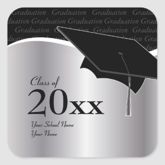 Plata adaptable y pegatina negro de la graduación