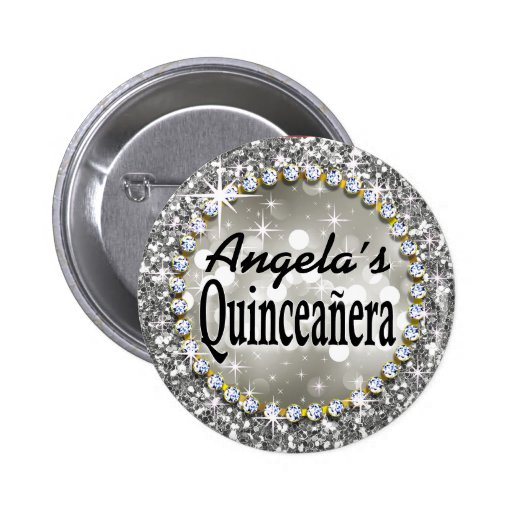 Plata atractiva de la celebración de Bling Quincea Pin