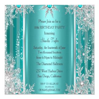 """Plata azul 3 del copo de nieve del país de las invitación 5.25"""" x 5.25"""""""