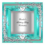 Plata azul de la turquesa del trullo de la fiesta invitación 13,3 cm x 13,3cm
